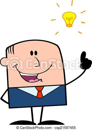 Businessman With A Bright Idea  - csp21597455
