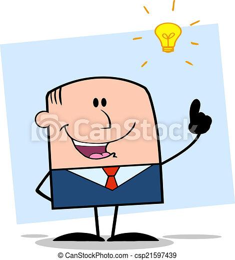 Businessman With A Bright Idea  - csp21597439