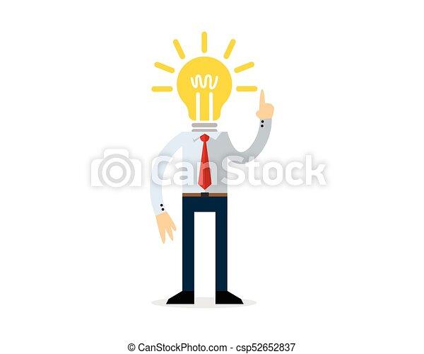 Businessman with a bulb head - csp52652837