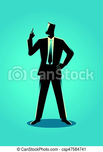 Businessman with a finger pointed up - csp47584741