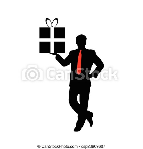 businessman with a gift vector - csp23909607