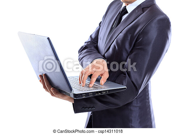 Businessman with a laptop. - csp14311018