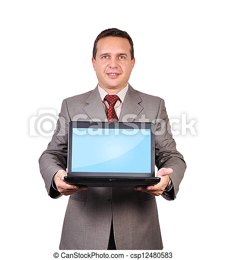 businessman with a laptop - csp12480583