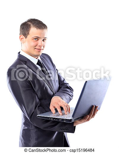 Businessman with a laptop. - csp15196484