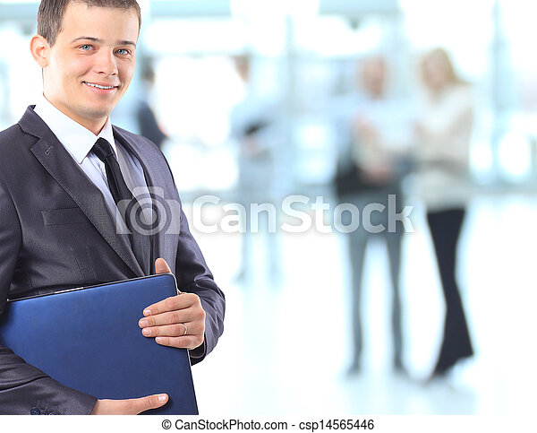 Businessman with a laptop. - csp14565446