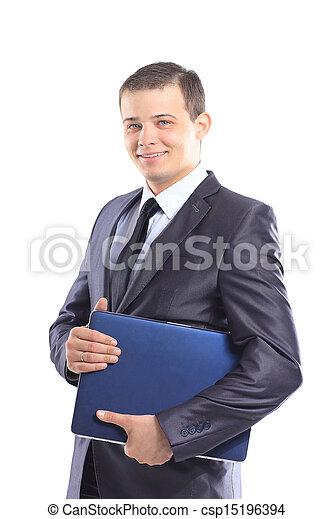 Businessman with a laptop.  - csp15196394