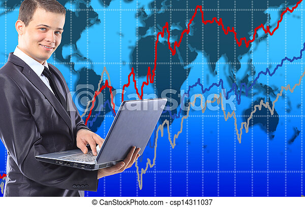 Businessman with a laptop. - csp14311037