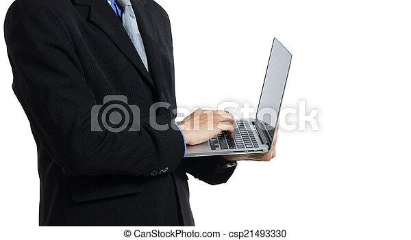 businessman with a laptop - csp21493330