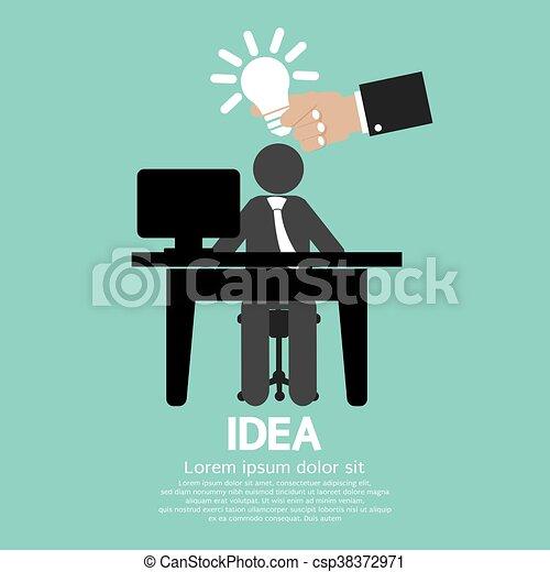 Businessman With A Light Bulb Idea. - csp38372971