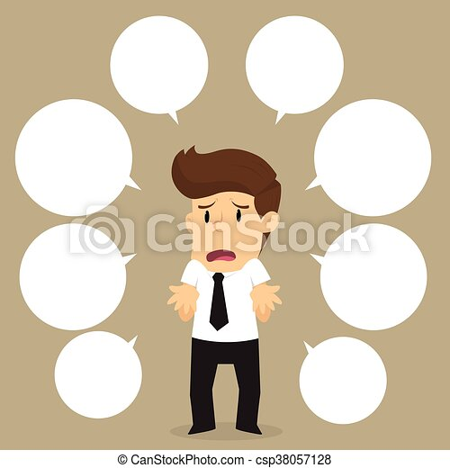 businessman with a lot of questions - csp38057128