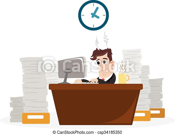 Businessman with a lot of work - csp34185350