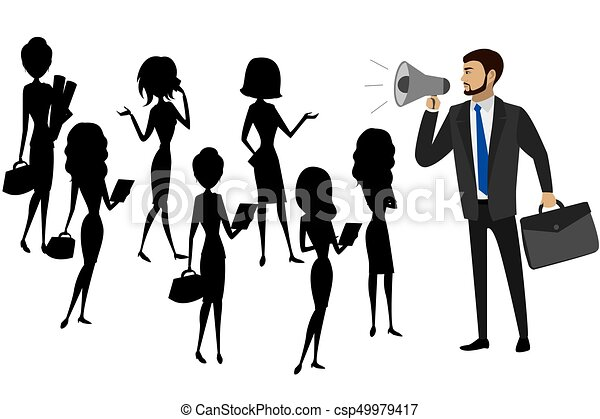 Businessman with a megaphone and silhouettes of women, teamwork - csp49979417