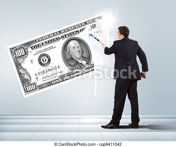 Businessman with a paint brush and banknote - csp9411042