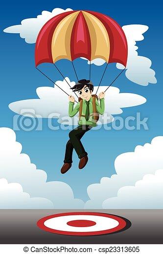 Businessman with a parachute landing on a target - csp23313605