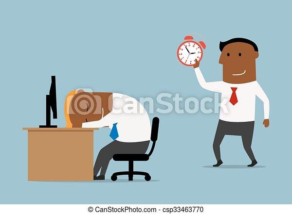 Businessman with alarm clock doing wake up - csp33463770