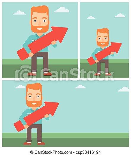 Businessman with arrow up vector illustration. - csp38416194