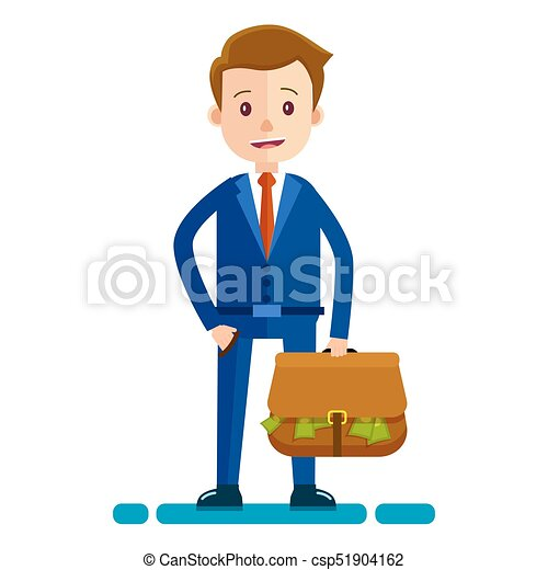 businessman with bag full of money illustration cartoon clip rh canstockphoto com businessman clipart cartoon 3d businessman clipart