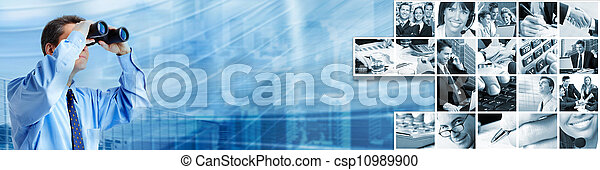 Businessman with binocular. - csp10989900