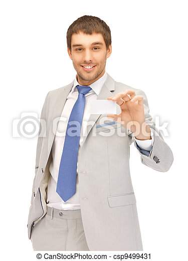 businessman with business card - csp9499431