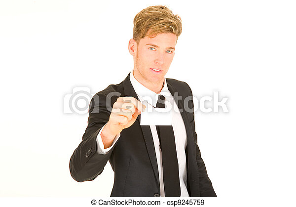 businessman with business card - csp9245759