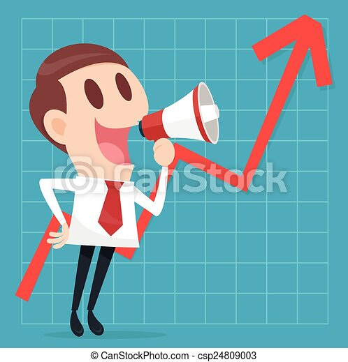 Businessman with business growing graph - csp24809003