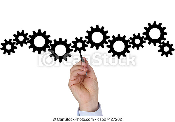 Businessman with business plan for success, team, growth and moving gear wheels - csp27427282