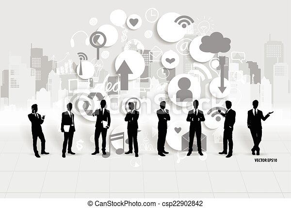 Businessman with cloud of application. Vector illustration. - csp22902842