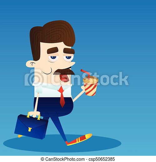 Business Office Employee Busy At Work Cartoon Character