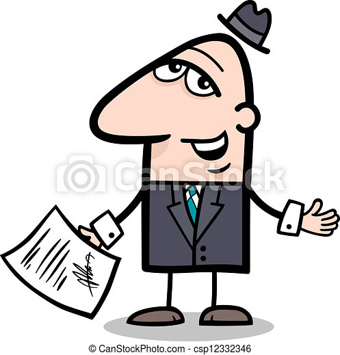 businessman with contract cartoon - csp12332346