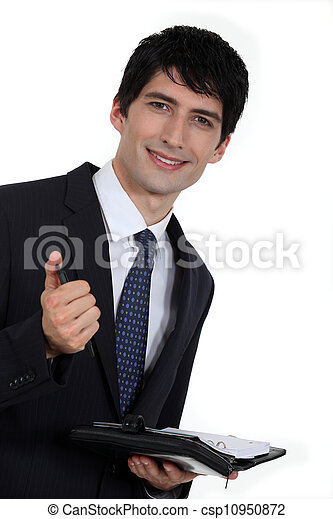 Businessman with diary - csp10950872