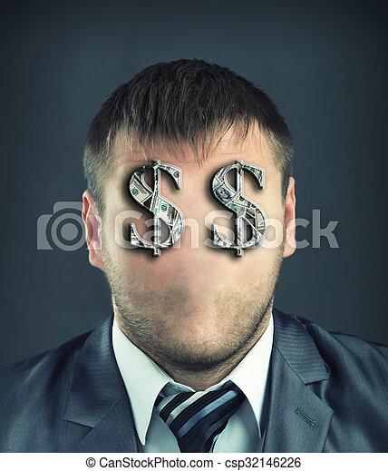 Businessman with dollar symbols  - csp32146226
