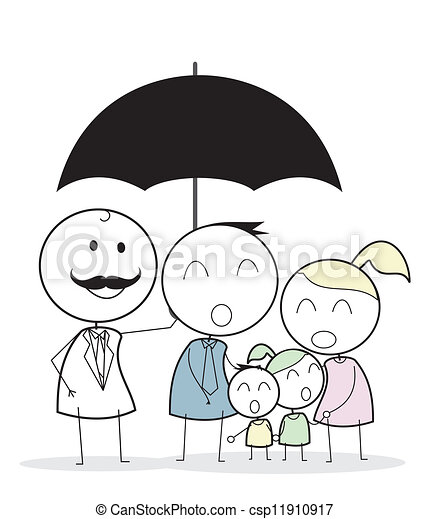 businessman with family insurance - csp11910917