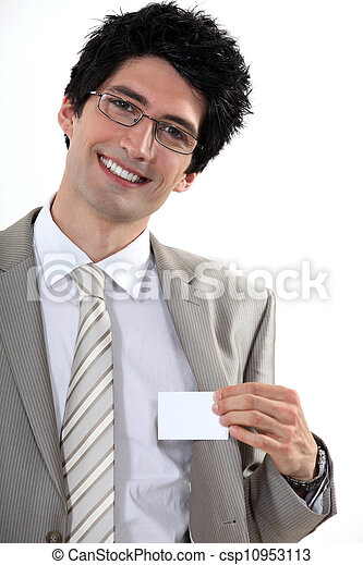Businessman with glasses showing off business-card - csp10953113