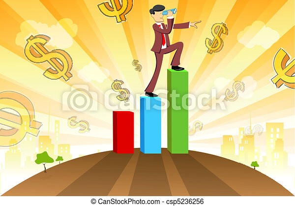 businessman with graph and dollar - csp5236256
