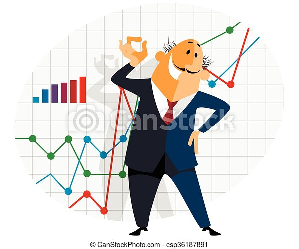 Businessman with graph - csp36187891