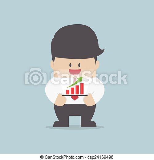 Businessman with growth graph on a tablet - csp24169498