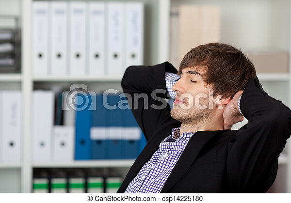 Businessman With Hands Behind Head And Closed Eyes - csp14225180