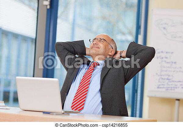 Businessman With Hands Behind Head At Desk - csp14216855