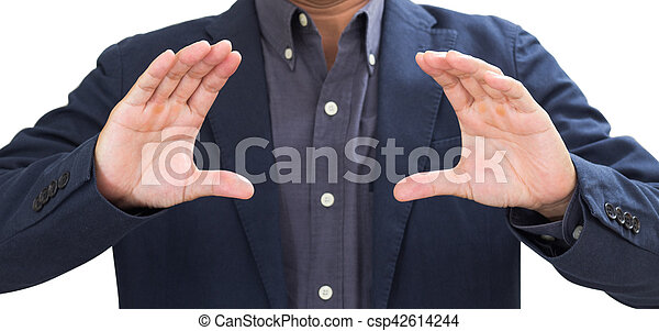 Businessman with hands grabbing isolated on white background. clipping path - csp42614244