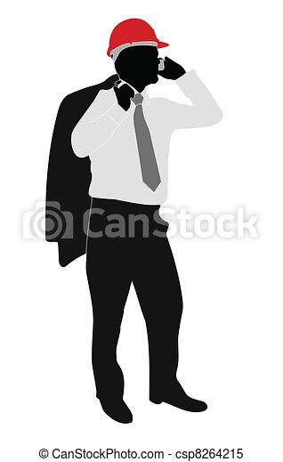 businessman with hardhat  - csp8264215