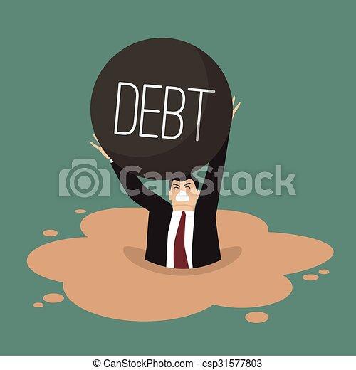 Businessman with heavy debt sinking in a quicksand - csp31577803