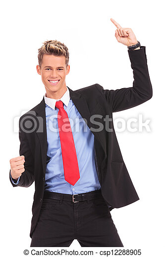 businessman  with his arms widened winning - csp12288905