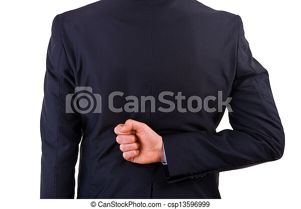 Businessman with his hand behind his back. - csp13596999