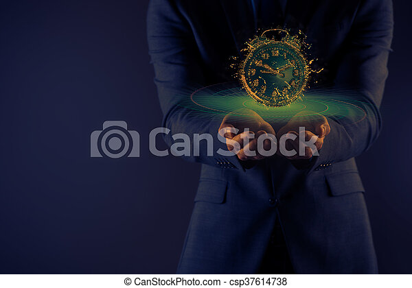 Businessman with his hand open holding - csp37614738