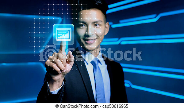 businessman with icon - csp50616965