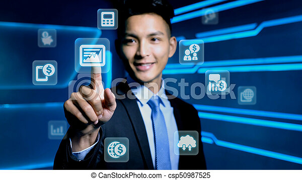 businessman with icon - csp50987525