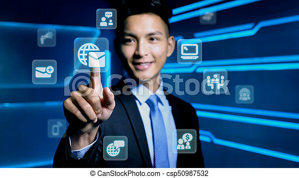 businessman with icon - csp50987532