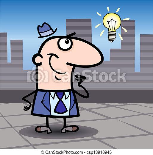 businessman with idea cartoon illustration - csp13918945