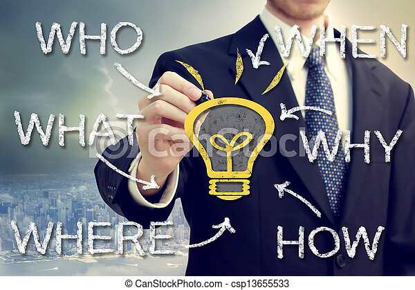 Businessman with idea light bulb and who what where when why and how - csp13655533