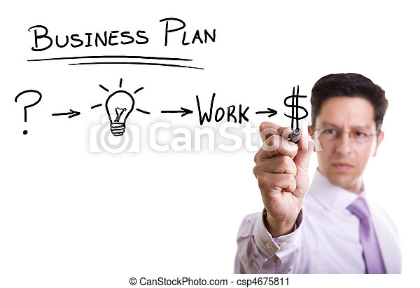 Businessman with ideas for success - csp4675811